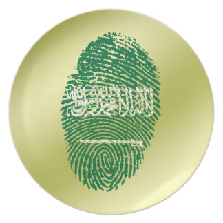 Saudi touch fingerprint flag plate