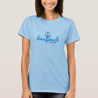 Saugatuck, Michigan - With Blue Anchor Icon T-Shirt
