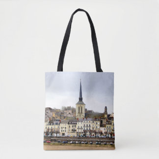 Saumur River Bank Scene All Over Print Tote Bag