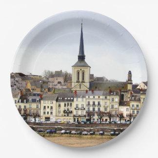 Saumur River Bank Scene Paper Plates