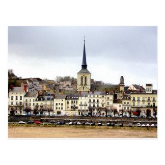 Saumur River Bank Scene Postcard