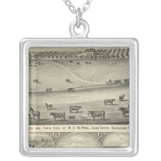 Saunders County Farms, Nebraska Silver Plated Necklace
