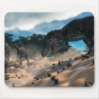Saurolophus hunting tarbosaurus dinosaur mouse pad