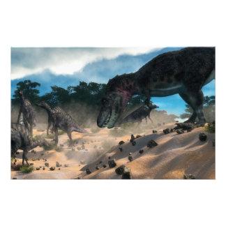 Saurolophus hunting tarbosaurus dinosaur stationery