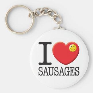 Sausages Basic Round Button Key Ring