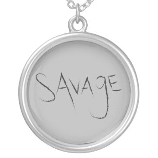 Savage Grunge Typography Silver Plated Necklace