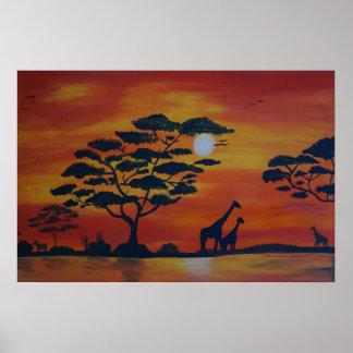 Savanna in sunset poster