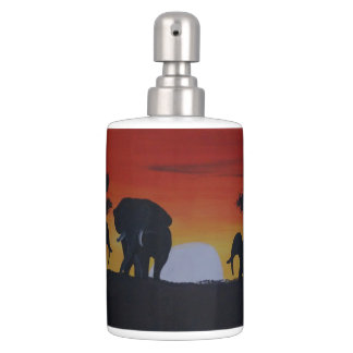 Savanna with elephants soap dispenser and toothbrush holder