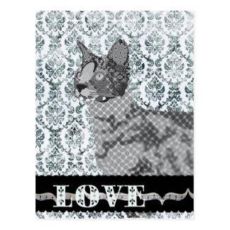 Savannah Cat Black & White Love  Damask  Postcard