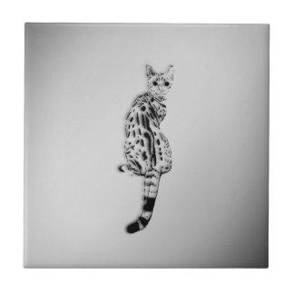 Savannah Cat Caught by Surprise Silver Tile