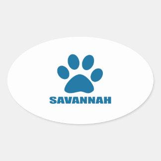 SAVANNAH CAT DESIGNS OVAL STICKER