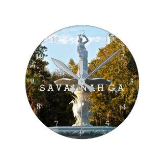 Savannah GA | Forsyth Park Fountain Spring Day Round Clock