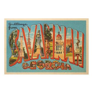 Savannah Georgia GA Old Vintage Travel Souvenir Wood Wall Art