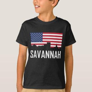 Savannah Georgia Skyline American Flag T-Shirt