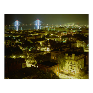 Savannah Georgia Skyline Poster