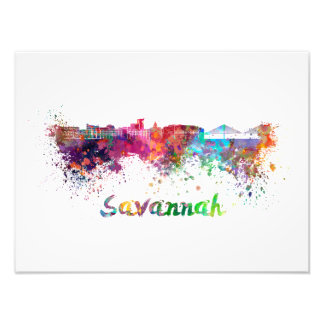 Savannah skyline in watercolor photo print
