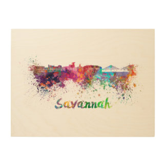 Savannah skyline in watercolor wood wall decor