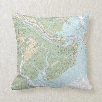 Savannah-Tybee Island Nautical Chart Pillow Throw Cushion