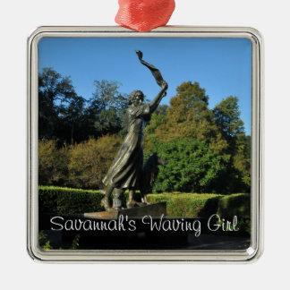 Savannah's Waving Girl Metal Ornament
