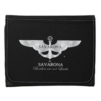 Savarona Logo Black Small Leather Wallet