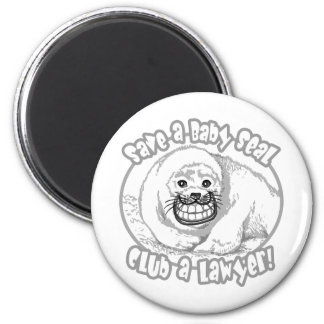 Save a Baby Seal by Mudge Studios 6 Cm Round Magnet