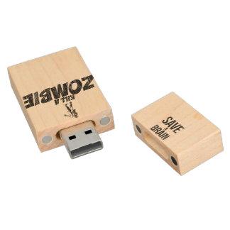 Save a brain Kill a zombie Wood USB 2.0 Flash Drive