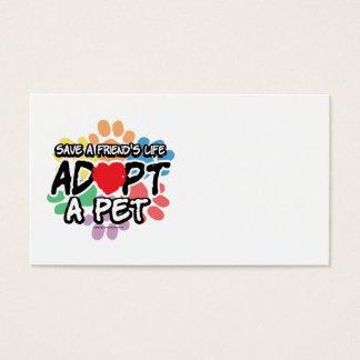 Save A Friend Adopt A Pet Business Card