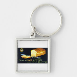 Save a Loaf a Week ~ help Win the War Silver-Colored Square Key Ring