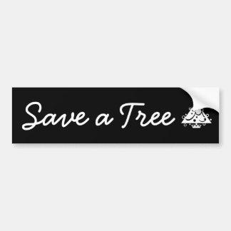 Save a Tree Christmas Tree Star Black and White Bumper Sticker