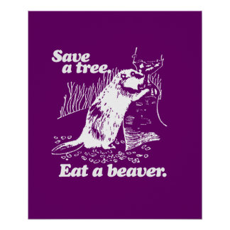 SAVE A TREE - WHITE - png Posters