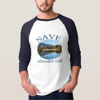 Save Almaden Lake Baseball T with website on back T-Shirt