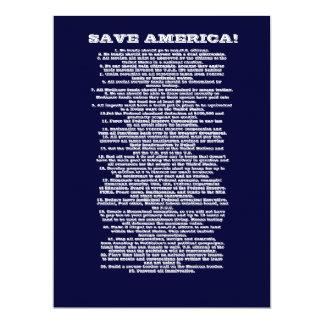 SAVE AMERICA 17 CM X 22 CM INVITATION CARD