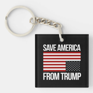 Save America From Trump -- white - Key Ring