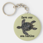 Save and Protect Sea Turtles Basic Round Button Key Ring