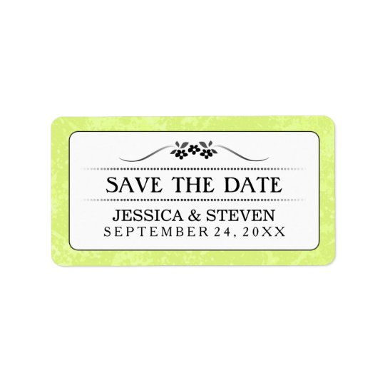Save Date Label - Bright Green White Fancy Floral