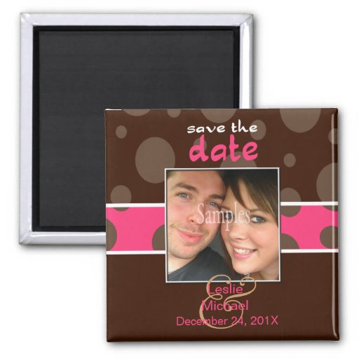 Save/Date Photo magnets/chocolate bubbles/pink