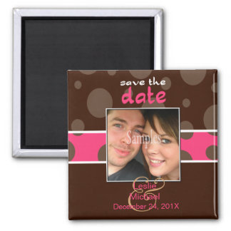 Save/Date Photo magnets/chocolate bubbles/pink Square Magnet