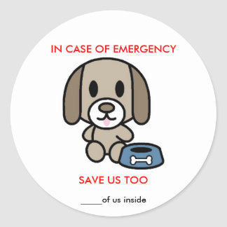 Save Dog Emergency Classic Round Sticker