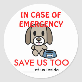 Save Dog Home Emergency Round Sticker