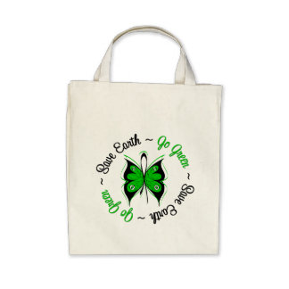 Save Earth Go Green Butterfly Tote Bag