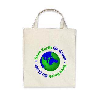 Save Earth Go Green Circular Canvas Bags