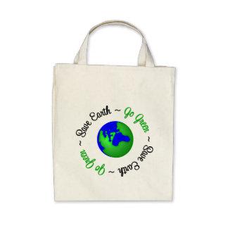 Save Earth Go Green Globe Tote Bags