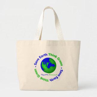 Save Earth Go Green Globe Bags