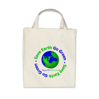 Save Earth Go Green Support the Environment Canvas Bag
