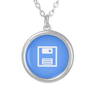 Save Floppy Disk Silver Plated Necklace