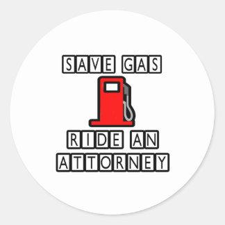Save Gas Ride An Attorney Sticker