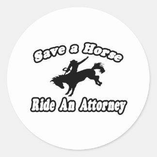 Save Horse Ride Attorney Round Stickers