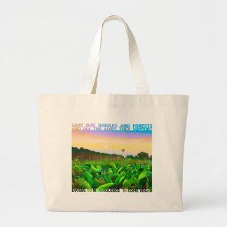 SAVE JUNGLES AND FORESTS. GO VEGAN. LARGE TOTE BAG