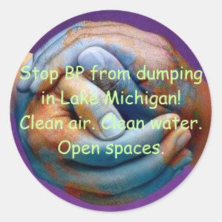 Save Lake Michigan Classic Round Sticker