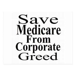 Save Medicare From Corporate Greed Postcard